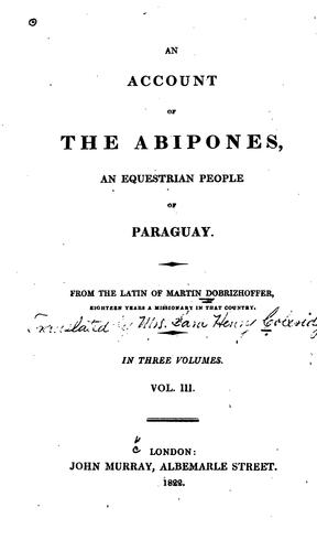 An account of the Abipones by Martin Dobrizhoffer
