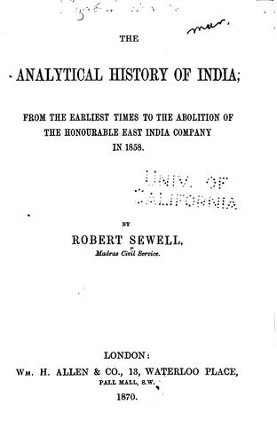 The analytical history of India by Robert Sewell