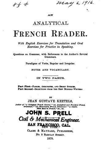 An analytical French reader by Jean Gustave Keetels
