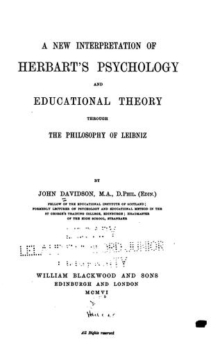 A new interpretation of Herbart's psychology and educational theory through the philosophy of Leibnis