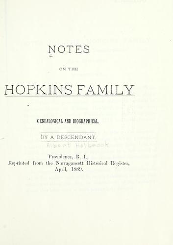 Notes on the Hopkins family by Descendant.