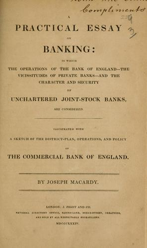 A practical essay on banking by Joseph Macardy