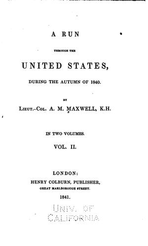A run through the United States by Archibald Montgomery Maxwell