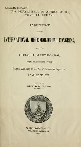 Report by International Meteorological Congress (1893 Chicago, Ill.)