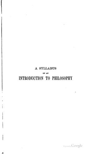 A syllabus of an introduction to philosophy by Walter Taylor Marvin