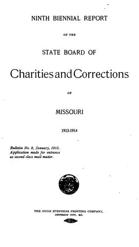 Biennial report by Missouri. State board of charities and corrections