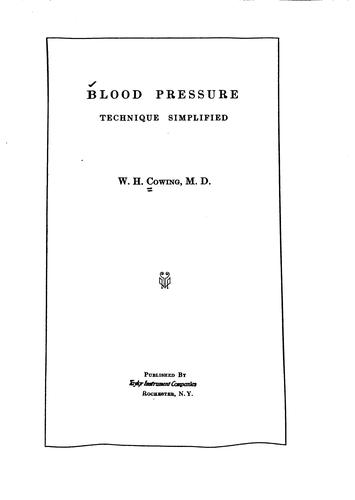 Blood pressure by William Henry Cowing