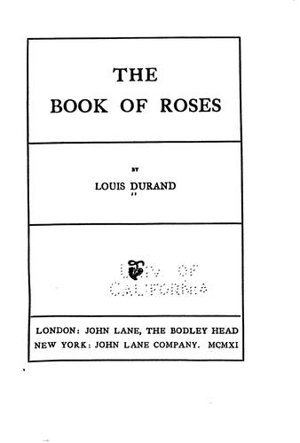 The book or roses by Louis Durand