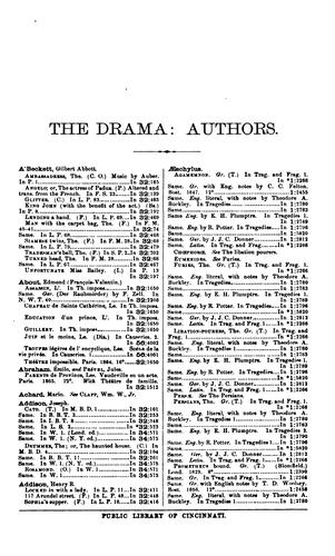 Catalogue of dramas and dramatic poems contained in the Public library of Cincinnati by Cincinnati (Ohio). Public Library.