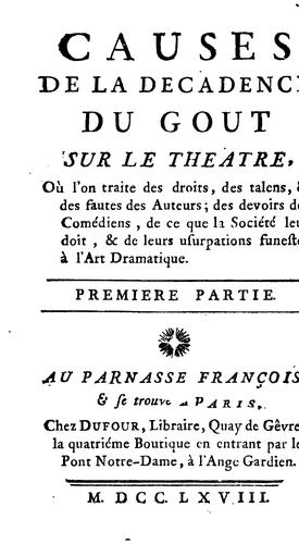 Causes de la decadence du gout sur le theatre by Louis Charpentier