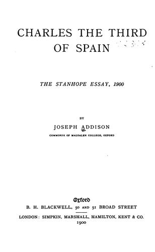 Charles the Third of Spain by Joseph Addison