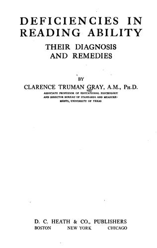Deficencies in reading ability by Clarence Truman Gray
