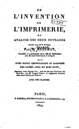 De l'invention de l'imprimerie by Gerard Meerman