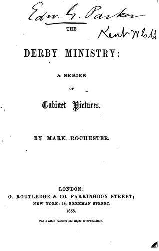 The Derby ministry by William Charles Mark Kent