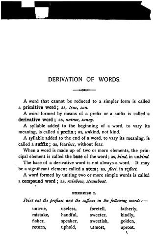 Derivation of words, with exercises on prefixes, suffixes, and stems by Mary Frances Hyde