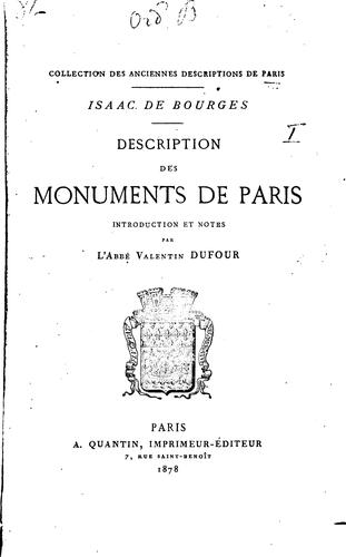 Description des monuments de Paris by Isaac de Bourges