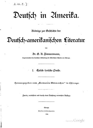 Deutsch in Amerika by Gustav Adolf Zimmermann