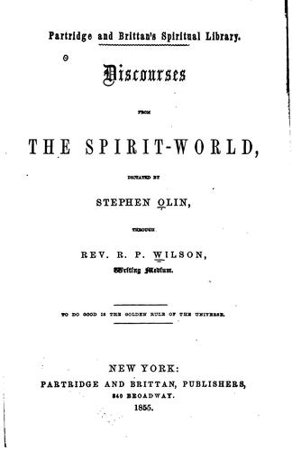 Discourses from the spirit-world by R. P. Wilson