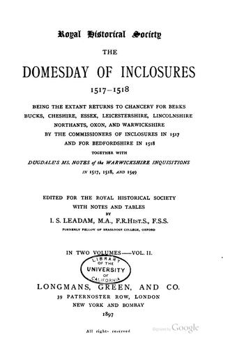 The domesday of inclosurs by Great Britain. Commissioners of inclosures