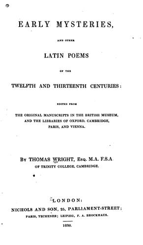Early mysteries by Wright, Thomas
