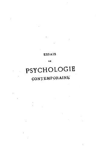 Essais de psychologie contemporaine.