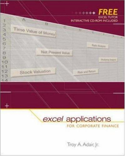 Excel Applications for Corporate Finance by Troy Adair