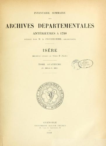 Archives civiles by Isère, France (Dept.)  Archives