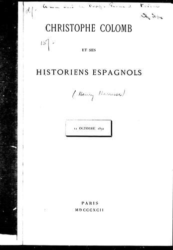 Christophe Colomb et ses historiens espagnols