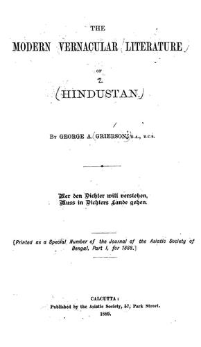 The modern vernacular of Hindustan by George Abraham Grierson