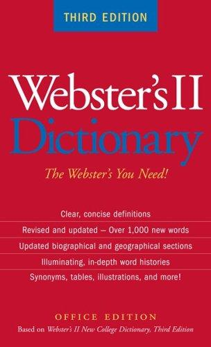 Webster's II Dictionary by Editors of The American Heritage Dictionaries