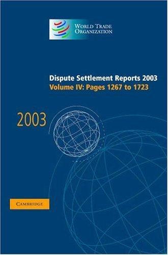 Dispute Settlement Reports 2003 (World Trade Organization Dispute Settlement Reports)