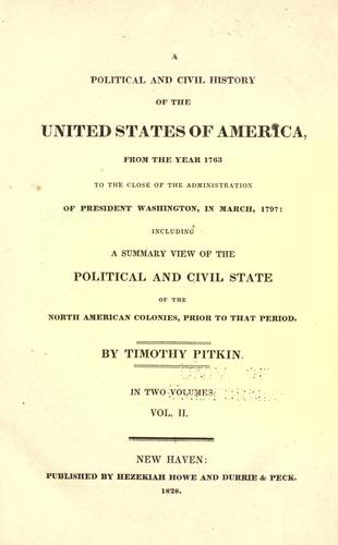 A political and civil history of the United States of America
