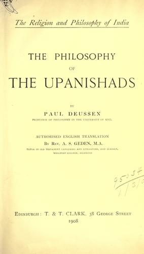 The philosophy of the Upanishads. by Paul Deussen