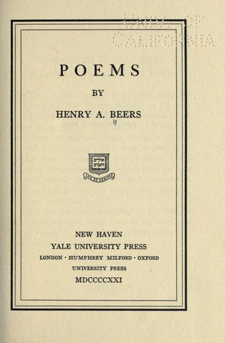Poems by Henry Augustin Beers