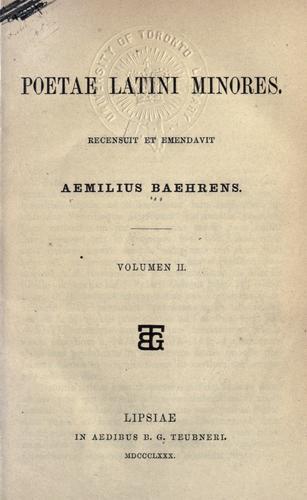 Poetae latini minores.