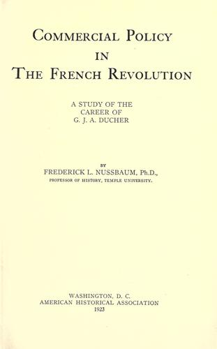 Commercial policy in the French revolution