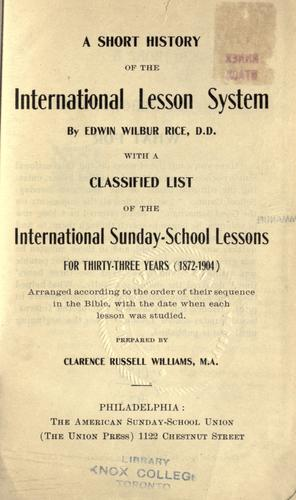 A short history of the International lesson system