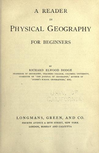 A reader in physical geography by Dodge, Richard Elwood