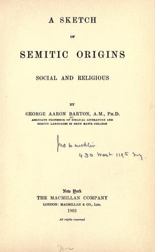 A sketch of Semitic origins