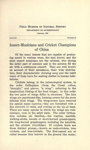 Insect-musicians and cricket champions of China