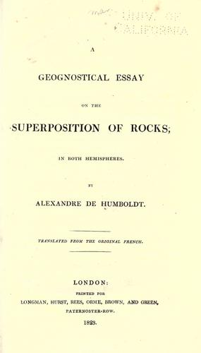 A geognostical essay on the superposition of rocks, in both hemispheres