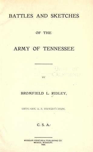 Battles and sketches of the Army of Tennessee