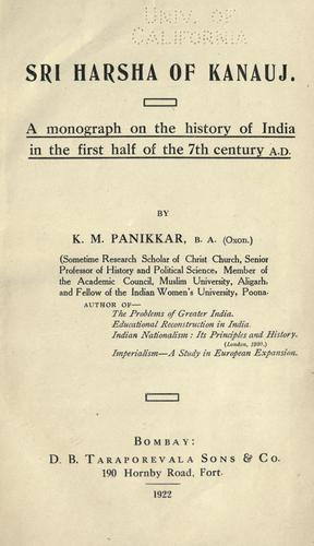 Sri Harsha of Kanauj by K. M. Panikkar