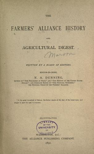 The Farmers' alliance history and agricultural digest.