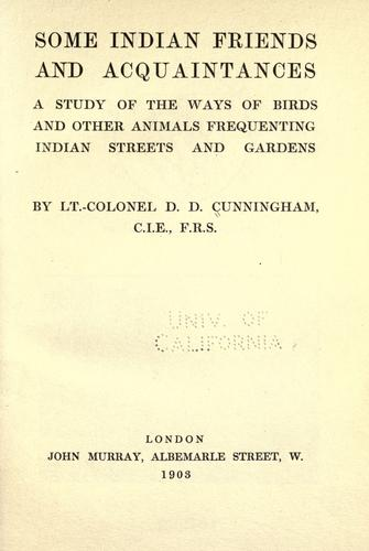 Some Indian friends and acquaintances by David Douglas Cunningham