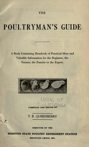 The poultryman's guide by Missouri. State Poultry Experiment Station, Mountain Grove.