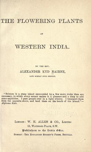 The flowering plants of Western India.