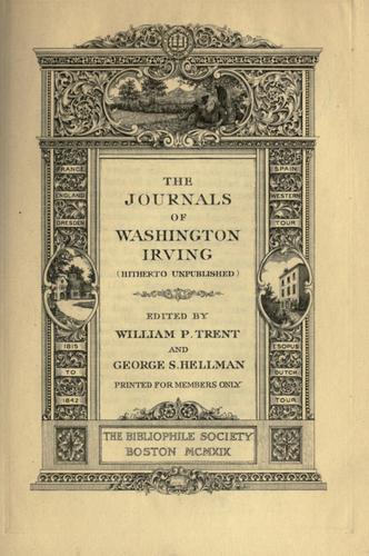 The journals of Washington Irving (hitherto unpublished)
