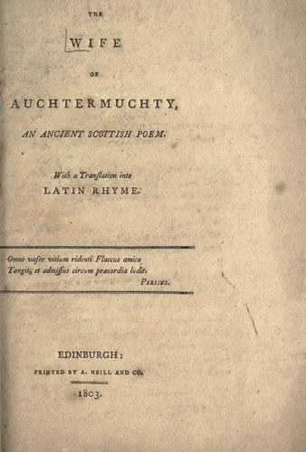 The Wife of Auchtermuchty by