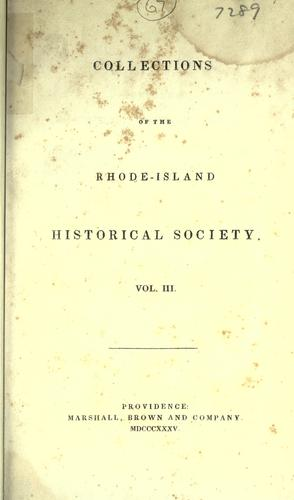 Rhode Island Historical Society collections. by Rhode Island Historical Society.